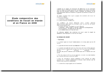 Etude comparative des conditions de travail en Irlande et en France en 2008