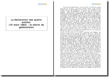 La Déclaration des quatre articles (19 mars 1682) - la charte du gallicanisme