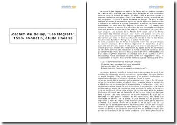 Joachim du Bellay, Les Regrets, 1558 - sonnet 6, étude linéaire