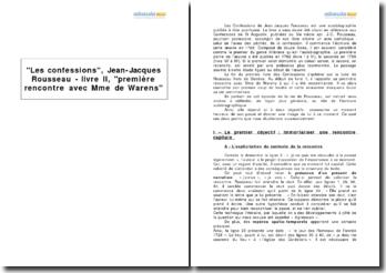 Les confessions, Jean-Jacques Rousseau - livre II, première rencontre avec Mme de Warens