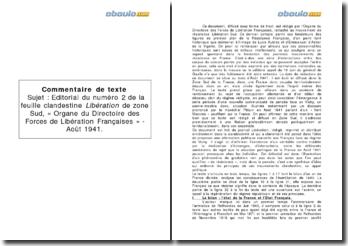 Organe du directoire des forces de libération françaises, Libération de zone sud nº2, août 1941 - analyse de l'éditorial