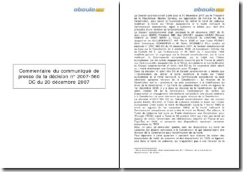 Communiqué de presse de la décision n 2007-560 DC du 20 décembre 2007