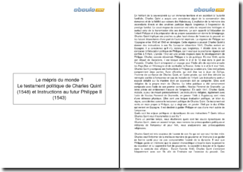 Instructions au futur Philippe II (1543) et Testament politique (1548), Charles Quint