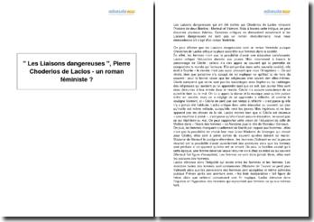 Les Liaisons dangereuses , Pierre Choderlos de Laclos - un roman féministe?