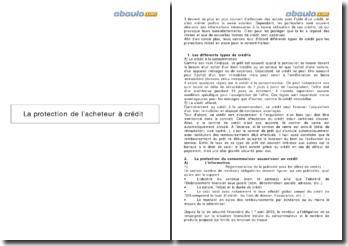 La protection de l'acheteur à crédit