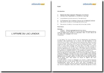 Tribunal arbitral France-Espagne, 16 novembre 1957 - l'affaire du lac Lanoux