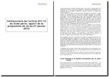 Commentaire de l'article 227-12 du Code pénal, apport de la proposition de loi du 27 janvier 2010