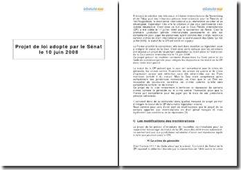 Projet de loi adopté par le Sénat le 10 juin 2008