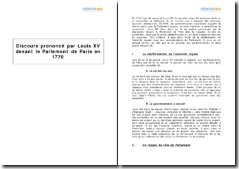 Discours prononcé par Louis XV devant le Parlement de Paris en 1770