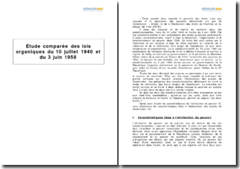 Étude comparée des lois organiques du 10 juillet 1940 et du 3 juin 1958