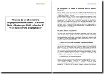 Histoire de vie et recherche biographique en éducation, Christine Delory-Monberger (2005) - chapitre III Vers la recherche biographique