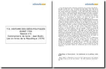 Les six livres de la République, Jean Bodin (1576)