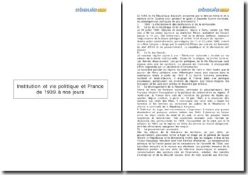 Institutions et vie politique et France de 1939 à nos jours