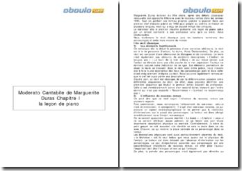Moderato Cantabile, Marguerite Duras (1958) - chapitre I La leçon de piano