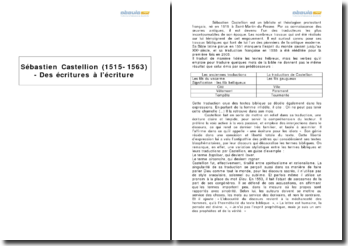 Sébastien Castellion (1515-1563) - Des écritures à l'écriture