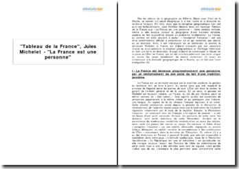 Tableau de la France, Jules Michelet - La France est une personne