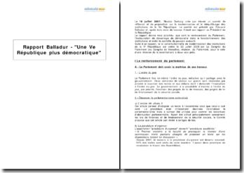 Rapport Balladur - Une Ve République plus démocratique