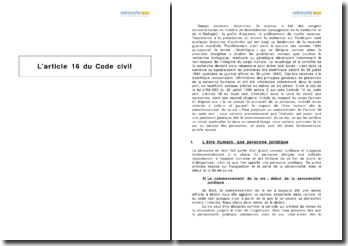 L'article 16 du Code civil
