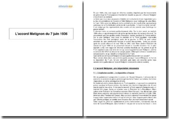 L'accord Matignon du 7 juin 1936