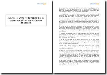 L'article L132-1 du Code de la consommation - les clauses abusives