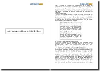 Les incompatibilités et interdictions - les articles 23 C, alinéa 1 et 25 C, alinéa 1