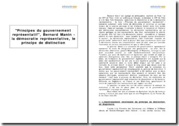 Principes du gouvernement représentatif, Bernard Manin - la démocratie représentative, le principe de distinction