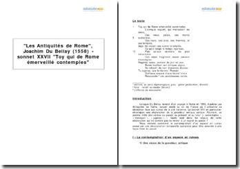 Les Antiquités de Rome, Joachim Du Bellay (1558) - sonnet XXVII Toy qui de Rome émerveillé contemples