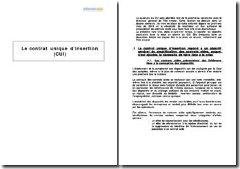 Le contrat unique d'insertion (CUI)
