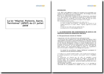 La loi Hôpital, Patients, Santé, Territoires (HPST) du 21 juillet 2009