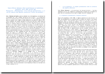Droit constitutionnel et institutions politiques, Olivier Duhamel (2009) - Politiquement, la Ve n'est pas parlementaire...