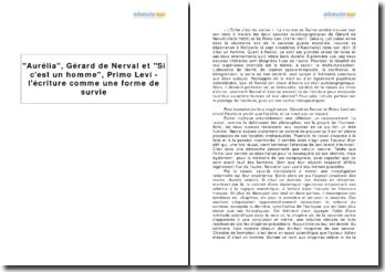 Aurélia, Gérard de Nerval et Si c'est un homme, Primo Levi - l'écriture comme une forme de survie