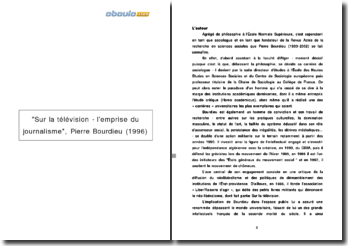 Sur la télévision - l'emprise du journalisme, Pierre Bourdieu (1996)