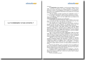 Fiche de lecture : La mondialisation et ses ennemis, Daniel Cohen (2004)