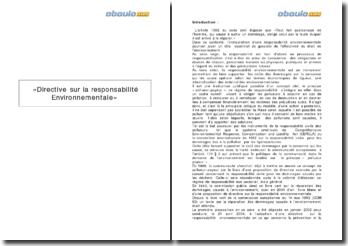 La directive sur la responsabilité environnementale 2004/35/CE du 21 avril 2004