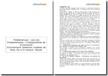 Questions notables de droit - De la loi salique, Claude Leprestre (1663) - les lois fondamentales et l'indisponibilité de la Couronne