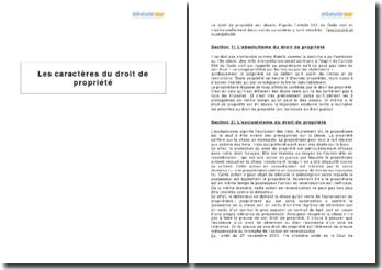 Les caractères du droit de propriété - définition et composantes juridiques
