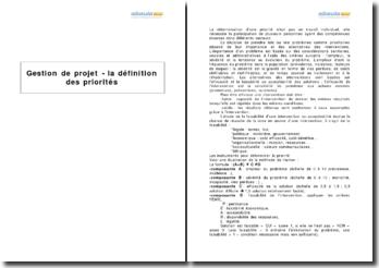 Gestion de projet - la définition des priorités