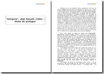 Antigone, Jean Anouilh (1944) - étude du prologue