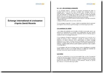Échange international et croissance d'après David Ricardo