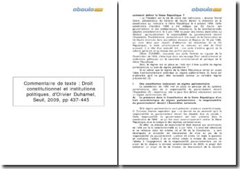 Droit constitutionnel et institutions politiques, Olivier Duhamel (2009) - la définition de la Ve République
