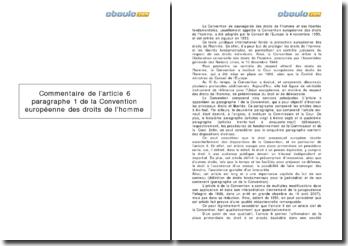 La Convention européenne des droits de l'homme - article 6, paragraphe 1