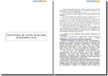 L'article 48 du Code de procédure civile - la compétence