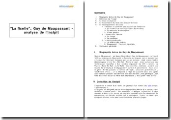 La ficelle, Guy de Maupassant - analyse de l'incipit