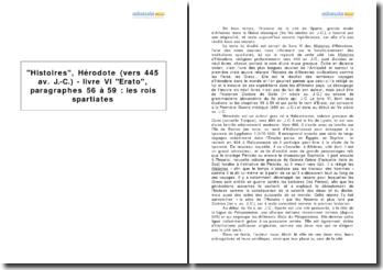 Histoires, Hérodote (vers 445 av. J.-C.) - livre VI Erato, paragraphes 56 à 59: les rois spartiates