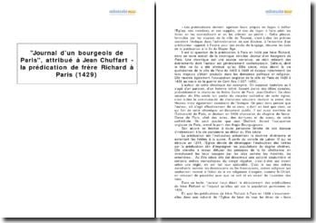 Journal d'un bourgeois de Paris, attribué à Jean Chuffart - la prédication de frère Richard à Paris (1429)