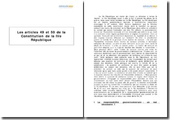 Les articles 49 et 50 de la Constitution de la IVe République