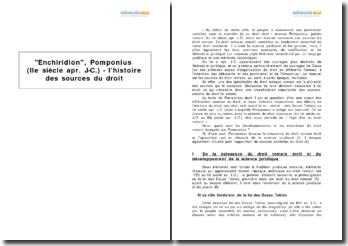 Enchiridion, Pomponius (IIe siècle apr. J-C.) - l'histoire des sources du droit