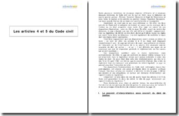 Les articles 4 et 5 du Code civil