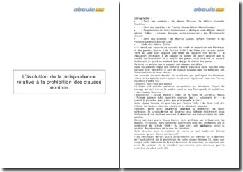 L'évolution de la jurisprudence relative à la prohibition des clauses léonines