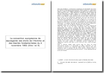 La Convention Européenne de sauvegarde des droits de l'Homme et des libertés fondamentales du 4 novembre 1950 - titres I et II